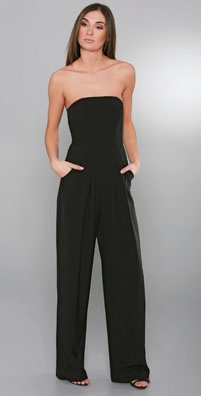 Black Halo Strapless Belted Jumpsuit
