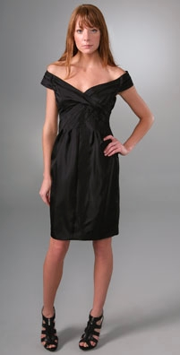 Black Halo Off Shoulder Wrap Bodice Sheath Dress