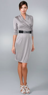Catherine Malandrino Belted Dress with Draped Neckline