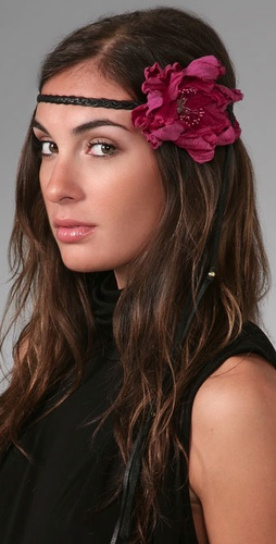 Victorian Hippie Flower Headband with Gauze Leather shopbop hair