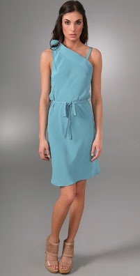A Common Thread One Shoulder Dress with Tie Waist