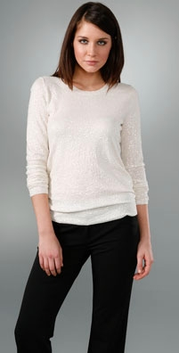 DKNY Sequin Long Sleeve Crew Neck Sweater