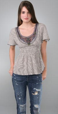 Free People Pattras Applique Top