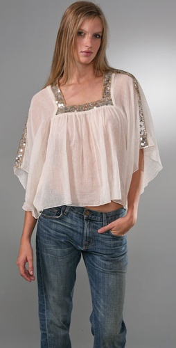 Free People Sequin Gauze Top