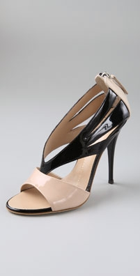 Giuseppe Zanotti Shoes Two Tone Open Toe Wishbone Pumps from shopbop.com