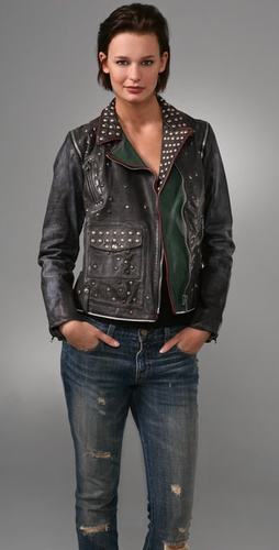 Golden Goose Studded Leather Motorcycle Jacket