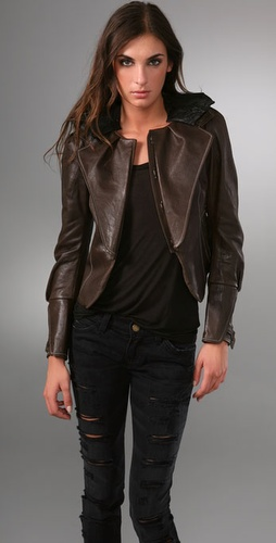 Hanii Y Bumpy Leather Jacket with Lace Collar