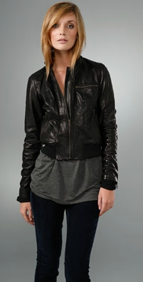Haute Hippie Hooded Leather Jacket