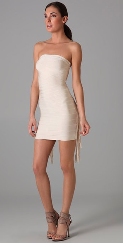 Herve Leger Strapless Dress with Fringe Detail from shopbop.com