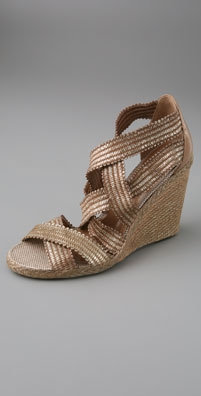 Jean-Michel Cazabat Metallic Mar Elastic Wedge Espadrilles - shopbop.com from shopbop.com