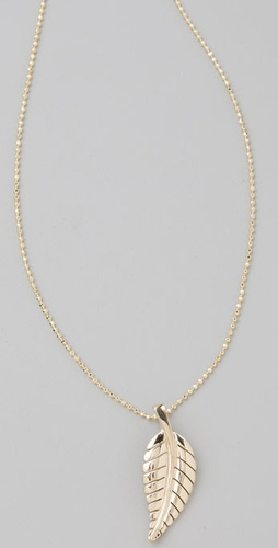 Jennifer Meyer Jewelry Small Gold Leaf Necklace