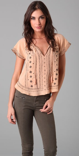 Joie Alissa Embroidered Silk Top - Shopbop from shopbop.com