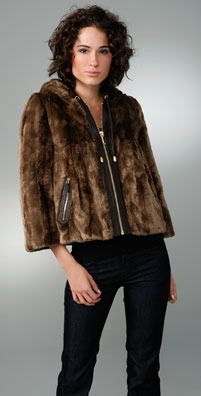 Juicy Couture Hooded Faux Fur Swing Coat