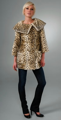 Juicy Couture Leopard Print Faux Fur Coat