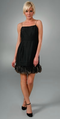 Juicy Couture Feather Hem Fitted Dress