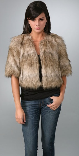 Juicy Couture Faux Fur Cropped Easy Coat