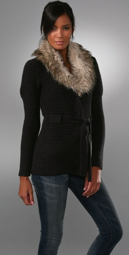 Juicy Couture Belted Cardigan with Faux Fur Collar