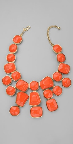 Kenneth Jay Lane Coral Stones Drop Necklace