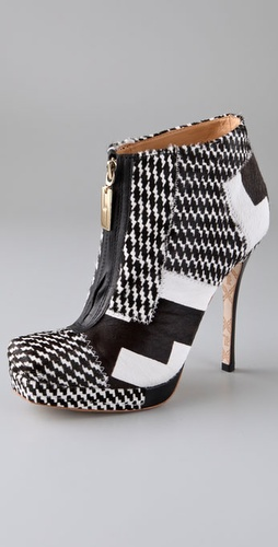 L.A.M.B Jenner Houndstooth Haircalf Booties with Zip