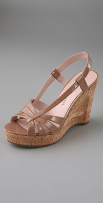Marc by Marc Jacobs Patent Asymmetrical Cork Wedge Sandals