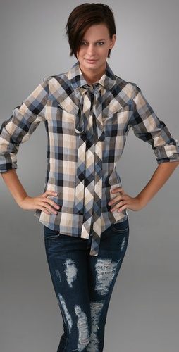 Mike & Chris Joplin Plaid Button Down Shirt with Tie