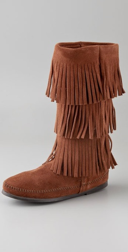 Minnetonka 3 Layer Fringe Boots from shopbop.com