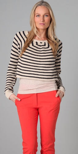 Patterson J. Kincaid Melinda Striped Cropped Sweater from shopbop.com