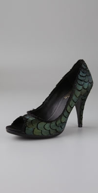 Pedro Garcia Michelle Peep Toe Pumps with Feathers from shopbop.com