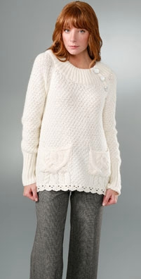 Rebecca Taylor Crew Neck Sweater with Buttons