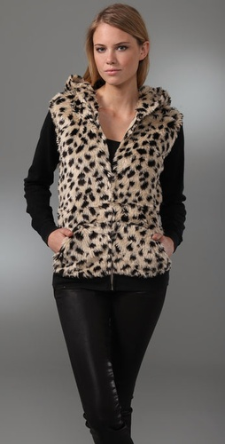Sauce Faux Fur Leopard Hoodie from shopbop.com