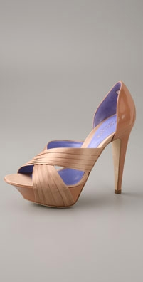 Sergio Rossi Ecos Pleated Cross Band Open Toe Pump