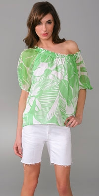 Shoshanna Palm Floral 3/4 Sleeve Smocked Top