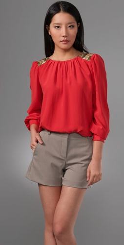 Shoshanna Beaded Shoulder Blouse from shopbop.com