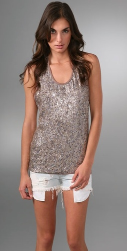 Son of John Heidi Sequin Tank with Racer Back