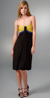 T-Bags Short Strapless Colorblock Dress