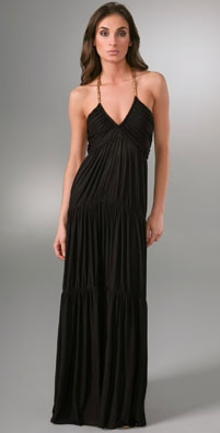 T-Bags Halter Long Dress with Rope Detail