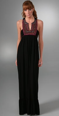 T-Bags Embroidered Long Dress
