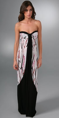T-Bags Print Strapless Long Dress