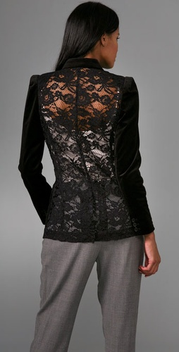 Tibi - Lace Back Long Blazer from shopbop.com