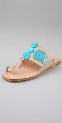 Tory Burch Caylan Toe Ring Flat Sandals with Neon