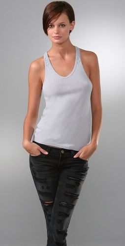 T by Alexander Wang Fitted Baby Rib Racer Tank