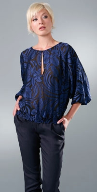 Twelfth St. by Cynthia Vincent Double Keyhole Blouse