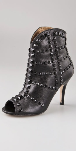 Twelfth St. by Cynthia Vincent Taylor Peep Toe Booties with Pyramid Studs