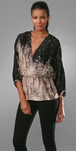 Twelfth St. by Cynthia Vincent Long Sleeve Crossover Blouse