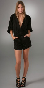Twelfth St. by Cynthia Vincent Deep V Blouse Romper
