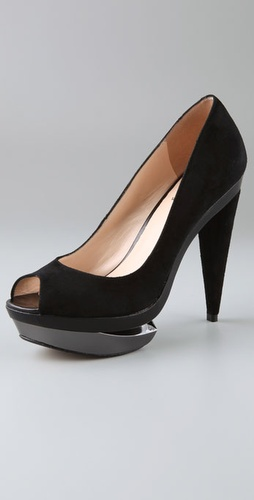 Velvet Angels Town Peep Toe Pumps on Broken Platform