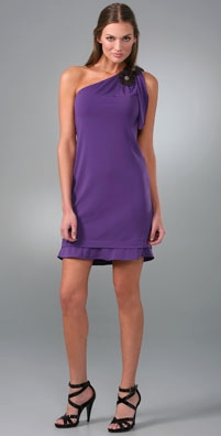 Vera Wang Lavender Label One Shoulder Dress with Flowers