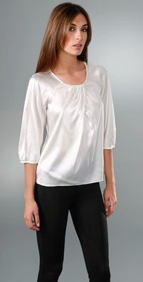 Vince Shirred Neck Raglan Top
