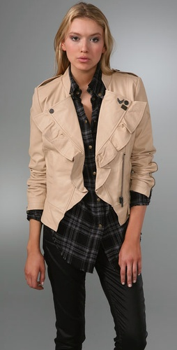 William Rast Ruffle Leather Jacket