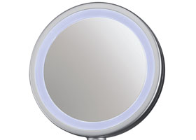 Double-sided mirror with soft surround lighting and 3x magnification